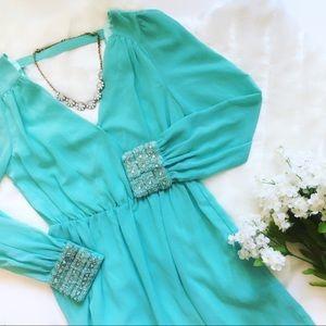 Embellished Cuff Pastel Dress